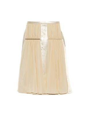 Metal-bar georgette and satin skirt