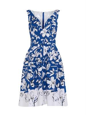 V-neck floral-print dress