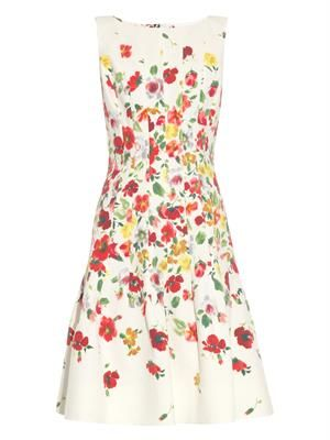 Floral-print textured cotton dress
