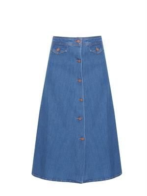 The 70s A-line denim skirt