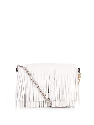 Courier small fringed leather shoulder bag