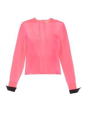 Ebson contrast-cuff silk-blend top