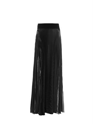 Pleated high-shine maxi skirt