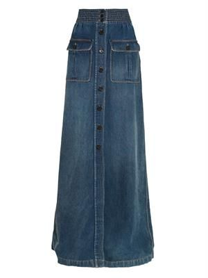 Stitched pleat-front denim maxi skirt
