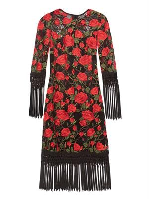 Rose-embroidered fringed dress