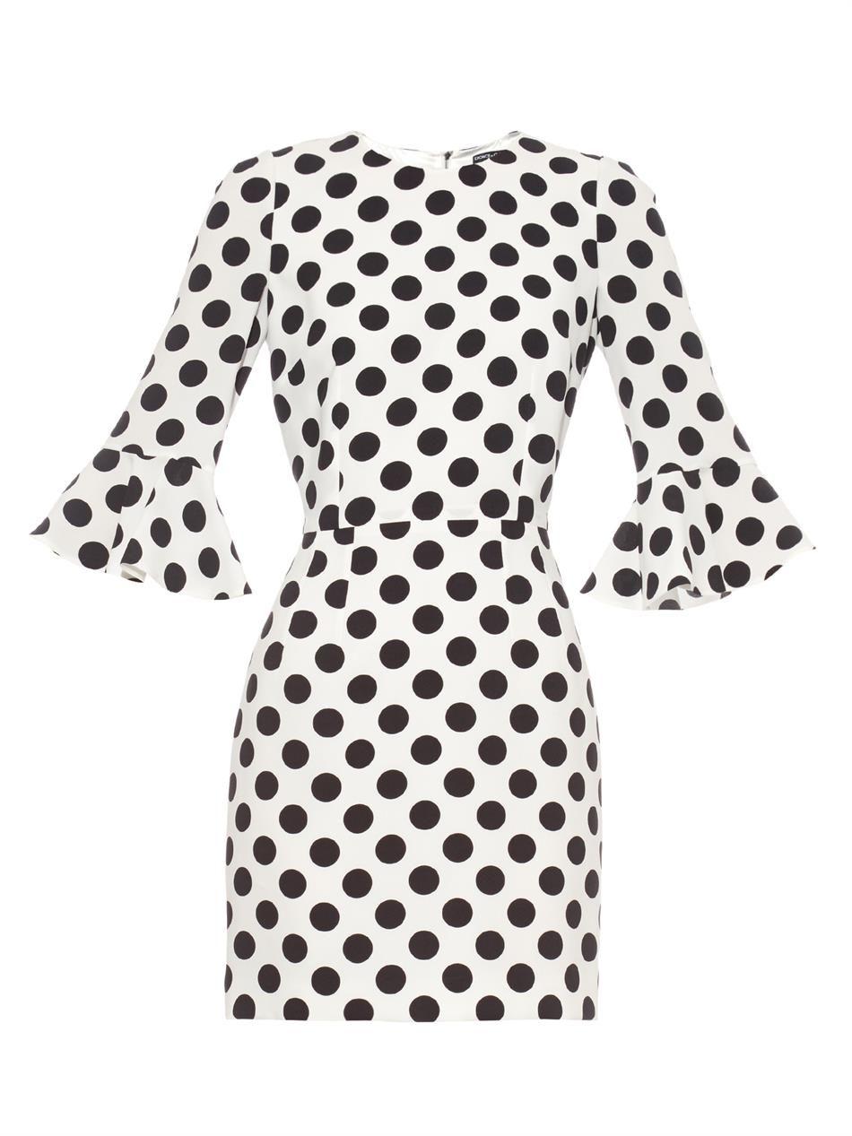 Polka-dot fluted-sleeve mini dress