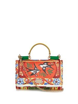 Disco bird-print leather cross-body bag