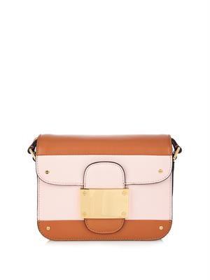 Colour-block striped leather shoulder bag