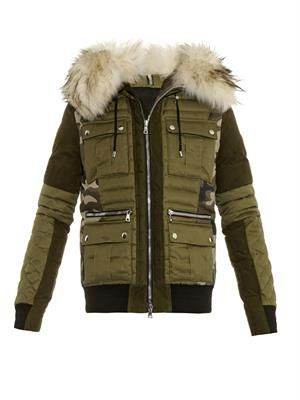 Fur-trim camouflage-print quilted jacket