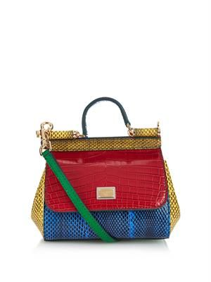 Mini Sicily crocodile cross-body bag