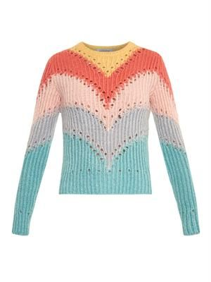 Rainbow intarsia-knit sweater