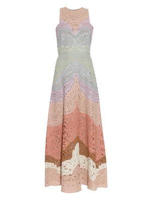 Rainbow embroidered linen dress