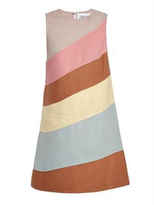 Diagonal-stripe linen dress