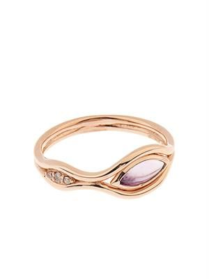Diamond, amethyst & rose-gold Fluid ring