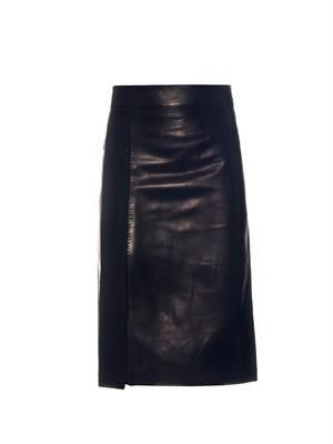 Split-panel leather midi skirt