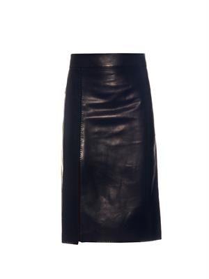 Split-panel leather midi skirt