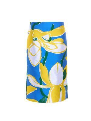 Floral-jacquard twill skirt