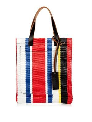 Striped raffia tote
