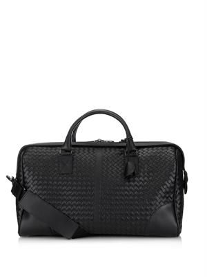 Intrecciato leather weekend bag