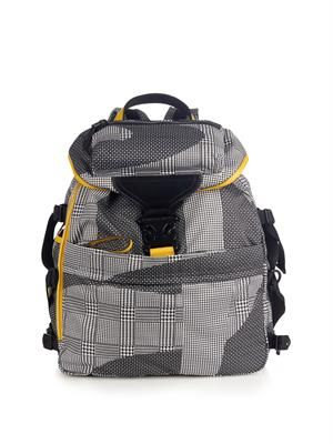 Abstract-print nylon backpack