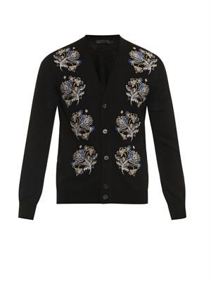 Floral-embroidered wool-blend cardigan