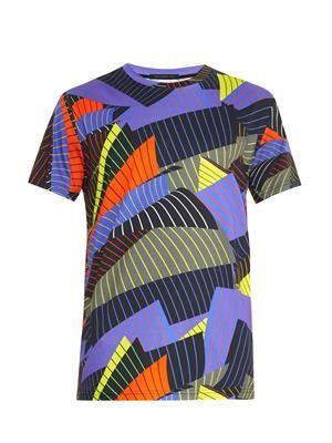 Striped paper-print T-shirt