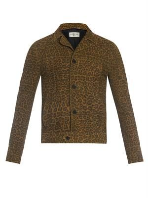 Leopard-print suede jacket