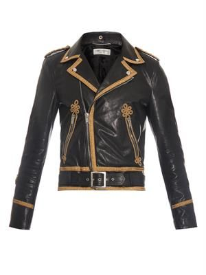 Contrast-panel leather jacket