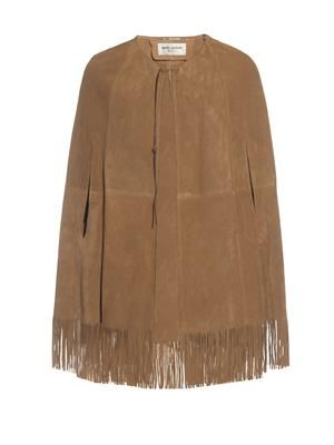 Fringed suede cape