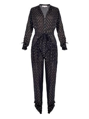Monia polka-dot jacquard silk jumpsuit