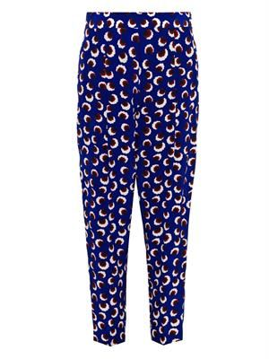 Charlotte blossom-print cropped trousers