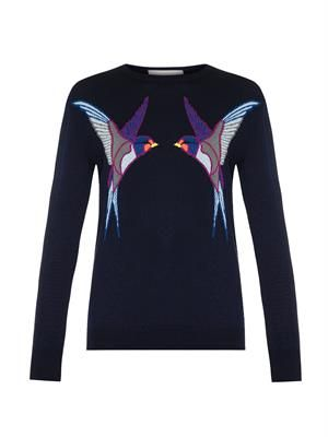 Swallow-intarsia sweater