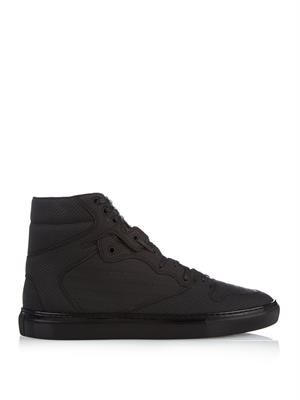 Monochrome perforated high-top trainers