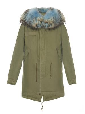 Fur-trimmed canvas long parka