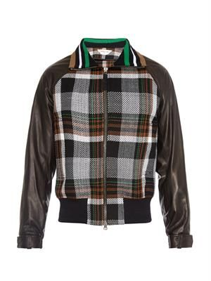 Checked leather-sleeve bomber jacket
