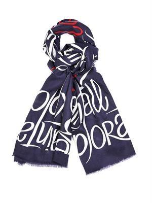 Typographic-print cashmere scarf
