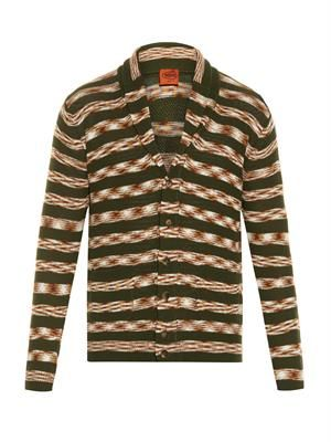 Shawl-neck striped knit cardigan