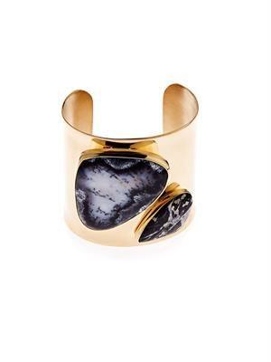 Shale, opal, pyrite and brass cuff