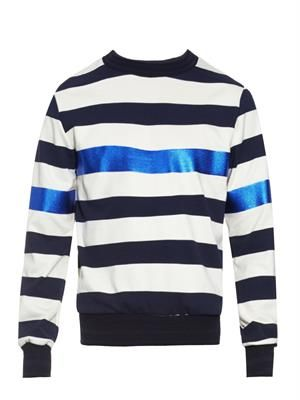 Contrast-panel striped jersey sweatshirt