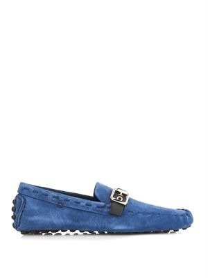 Suede leather-strap driving shoes