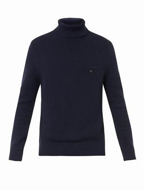 Chet navy roll-neck sweater