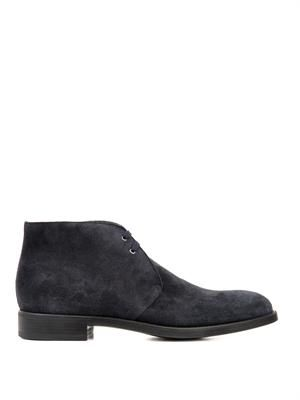 Navy suede lace-up boots