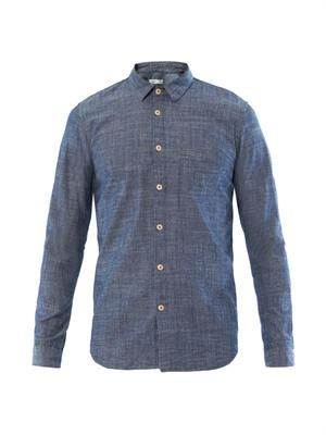 Contrast elbow patch chambray shirt