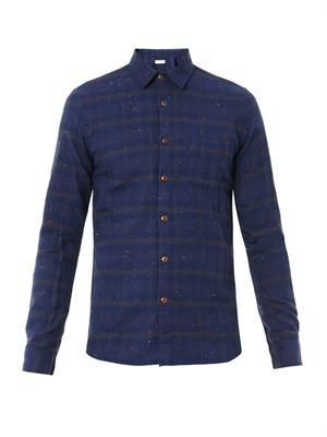 Taped cotton-flannel shirt
