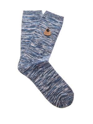 Melange cotton-blend socks
