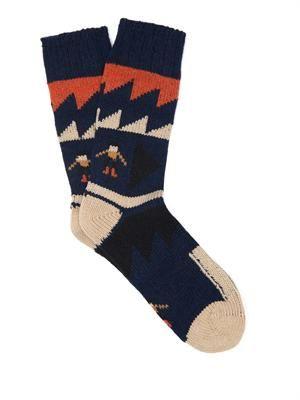 Graphic People wool-blend socks
