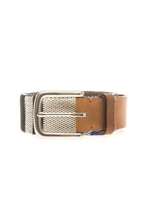 Leather and woven fabric belt