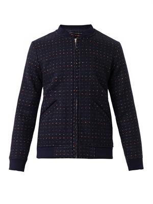Polka-dot wool bomber jacket