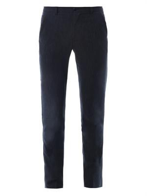 Tailored wool and cotton-blend trousers