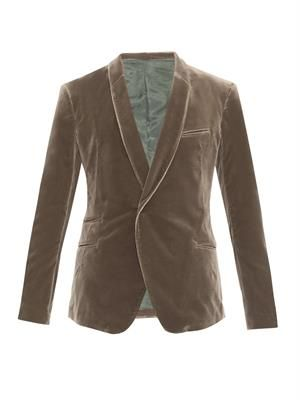 Shawl-lapel velvet blazer